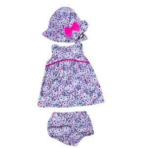Carter's floral pink & blue newborn dress, hat & diaper shorts
